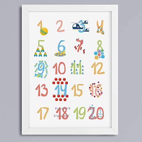 123-Zahlen Motiv Kunstdruck Geschenk zur Einschulung oder Kindergarten Kinderzimmerbild optional mit Rahmen
