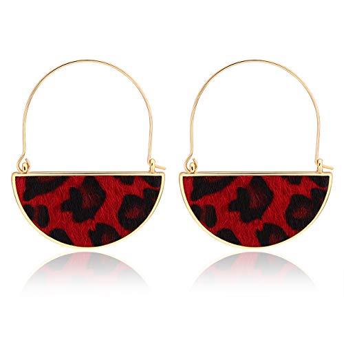 YOUMI Drop Dangle Earrings Semicircle Leopard Statement Earring Tortoise Bohemian Horsehair Felt Cloth Hoop Earring for Women Girls (red-Leopard)