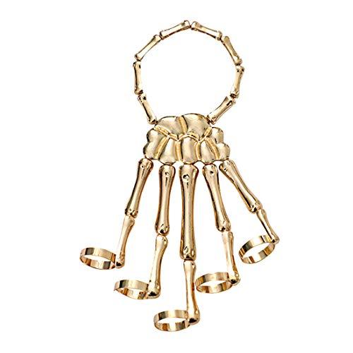 Halloween Skull Skeleton Hand Bracelet with Ring Handmade Wristband Skull Fingers Metal Hand Bracelet Jewelry for Women Men Gifts-B Gold