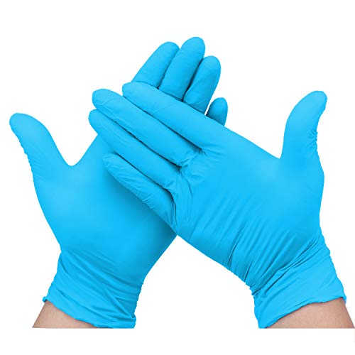 Hseamall Einweghandschuhe, Nitril, puderfrei, latexfrei, antiallergisch, verschleißfest, Blau, 100 Stück, Extra Large, 100