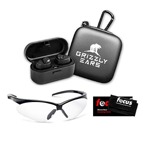 Grizzly Ears Predator Pro Bluetooth Shooting Earmuffs & Shooting Glasses Bundle. Amplifies Sound, Reduces Gunshot Noise - Pairs with Phone - Charging Case and Focus Cleaning Cloth Included (3 Items)