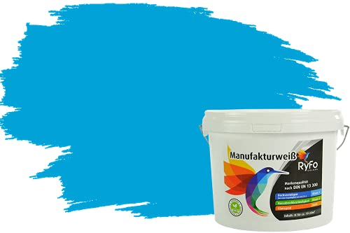 RyFo Colors Bunte Wandfarbe Manufakturweiß Azurblau 3l - weitere Blau Farbtöne und Größen erhältlich, Deckkraft Klasse 1, Nassabrieb Klasse 1