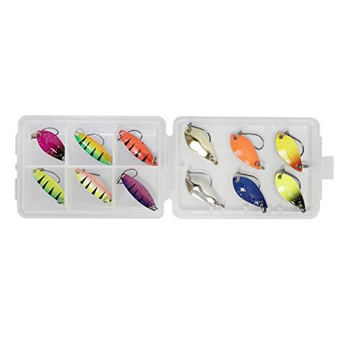 FitTrek Cucharillas Pesca Trucha Kit - Señuelos de Pesca Spinning Set - Artificiales Fishing Spoons Lots - Caja Cebos de Pesca 12pcs / 20pcs