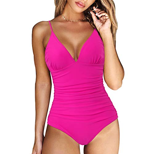 RXRXCOCO Womens One Piece Swimsuits Tummy Control Ruched Monokini V Neck Sexy Bathing Suit Rose Red Medium