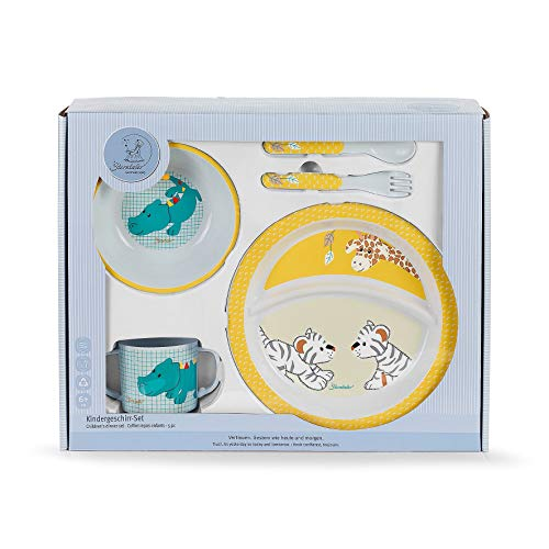 Sterntaler Geschirr-Set Kuschelzoo, Teller, Schale, Löffel, Gabel, Tasse, Alter: Für Babys ab 6 Monaten, mehrfarbig