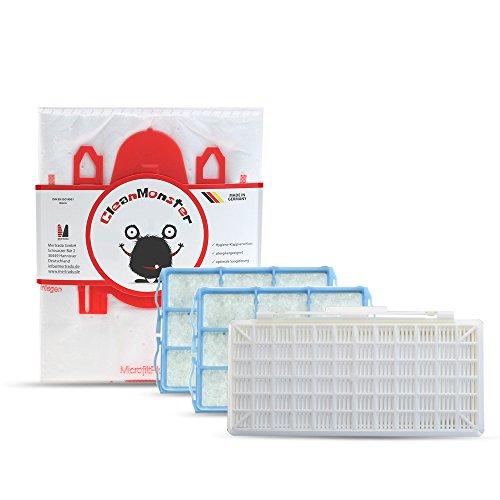 Bonuspack 20x CleanMonster Staubsaugerbeutel für Siemens Q 5.0 VSQ5X1230 + 1x Hygienefilter komp. zu Siemens VZ154HFB HEPA + 2x Motorfilter - komp. zu Swirl S62 / S67 / S68 / S73 / Y94