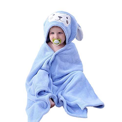 HUOCAI toalla de baño para niños, Toalla de bebé con capucha, Extra grande y absorbente Toalla de conejito para 0-6 años Niño y Niña, Toallas de Baño para Niños y Niñas (azul, 70x140cm)