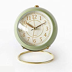 JUSTUP Small Table Clocks, Classic Non-Ticking Tabletop Alarm Clock Battery Operated Desk Clock with Backlight HD Glass for Bedroom Living Room Kitchen Indoor Decor (Green)