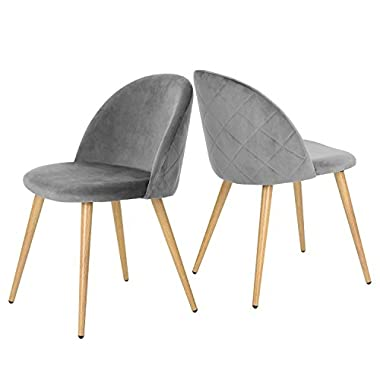 GreenForest Dining Leisure Chair. Wood Legs Velvet Cushion Seat and Back for Dining and Living Room Chairs, Set of 2 Grey