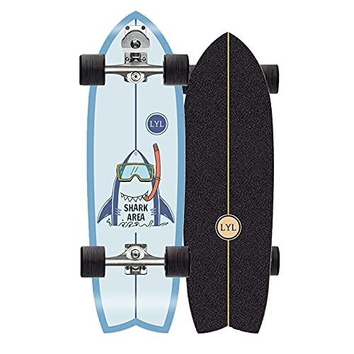 Surfskate - Patineta de 79 x 23,5 cm, arce completo, camión de talla S7 (S7 doble dirección y rodamientos INDY) ABEC-11, con herramienta en T, para niños, adolescentes y adultos