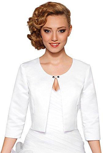 Nina Brautmoden Brautjacke Hochzeitsjacke Satin Bolero Gr XS - 3XL - BA89 (XS, weiß)