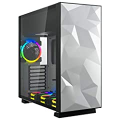 Sleek and sophisticated Mid Tower ATX case full of shine; unique angular White steel front panel and tempered glass Side panel combine for a clean white PC case exterior and fully visible interior Vibrant RGB computer case; includes pre-installed bot...