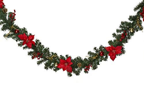HEITMANN DECO Tannengirlande für innen - Weihnachtsgirlande Dekogirlande Girlande Weihnachten - natürliche Dekoration - Grün, Rot, Gold