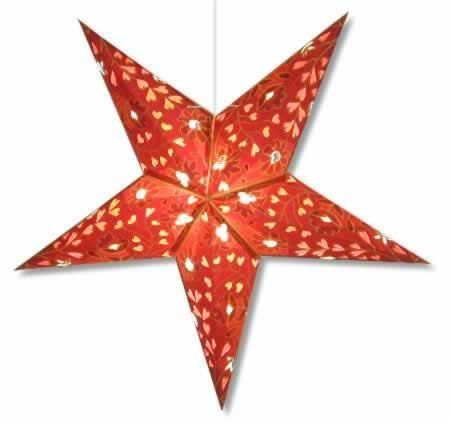 Hearts and Flowers Star Lantern in Burgundy