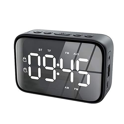 QK Tragbarer Lautsprecher Drahtloser Lautsprecher mit LED-Spiegel, Zeit Temperaturanzeige, digitalem Wecker, UKW-Radio,...