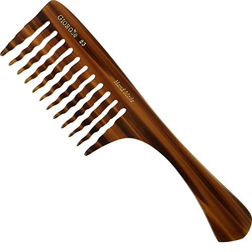 Giorgio G53 Large Coarse Hair Detangling Comb, Wide Teeth for Long Thick Curly Wavy Hair. Hair Detangler Comb For Wet and Dry. Handmade Rake Comb Saw-Cut from Cellulose Hand Polished Tortoise Shell