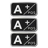 Sangre Parche 3D PVC Tipo de sangre Bordado Táctico Militar Set de 3 A B AB O POS NEG CJ/XXT-01 (A+)