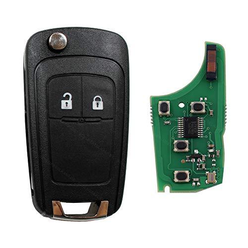 Autoschlüssel Schlüssel Funk Fernbedienung Klappschlüssel 2 Tasten 433 MHz Sender + ID46 Transponder passend für Opel Adam Astra Corsa Insignia Meriva Omega Tigra Vectra Zafira