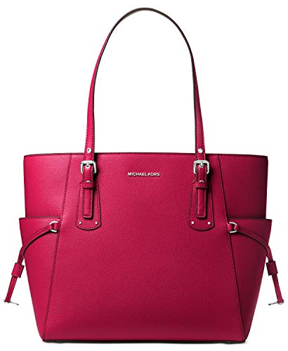Michael Kors Voyager East West Crossgrain Leather Tote (Dk Raspberry)