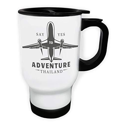 Say Yes To Adventure Thailand Plane Tasse de voyage thermique blanche 14oz 400ml ff902tw