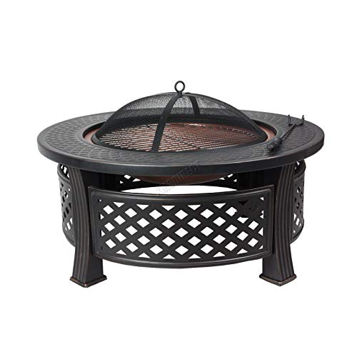 HEATSURE Outdoor 3 In 1 Multifunctional Metal Fire Pit Garden BBQ Firepit Brazier Round Table Stove Patio Heater HS-FP-08 Black