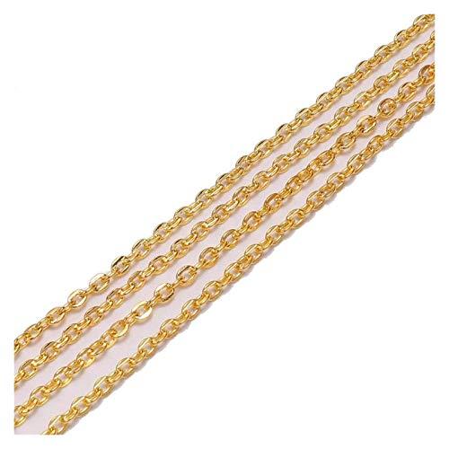 WEIGENG Cadenas largas de 10 m/lote, de color rodio/bronce, de latón, para joyería y accesorios de materiales (color: oro)