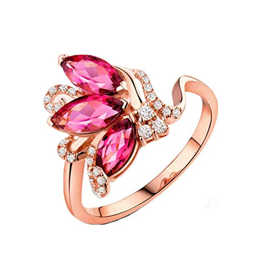 AnazoZ Anillo Mujer Turmalina,Anillos de Boda de Oro Rosa de 18K Oro Rosa y Rosa Roja Flor con Marquesa Turmalina Rosa 1.43ct Diamante 0.15ct Talla 25