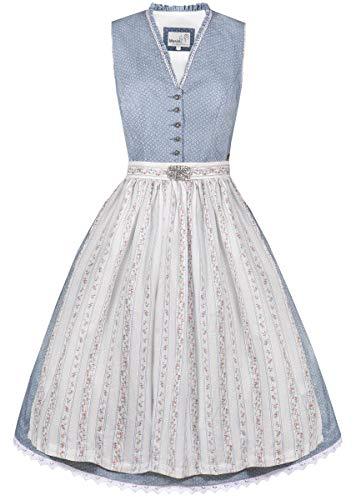 MarJo Trachten Damen Trachten-Mode Midi Dirndl Fanny in Hellblau traditionell, Größe:34, Farbe:Hellblau