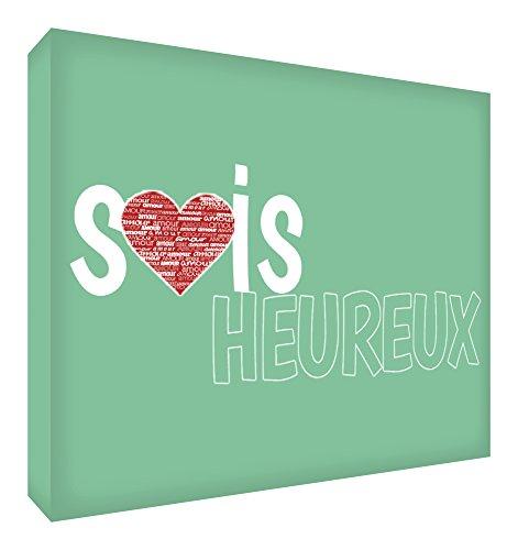 Feel Good Art Sois Heureux Bloc Décoratif en Acrylique Transparent Poli comme Diamant Vert Pâle 10,5 x 7,4 x 2 cm