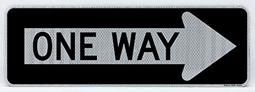 One Way Sign, Right Arrow | Road & Street Sign | Controls Traffic | Engineer Grade Prismatic Reflective | 3M Sheeting & Inks | Rust-Free Aluminum | Made in USA | 12� x 36�