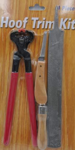 AMKA 4 teiliges Hufbeschlag Set Raspel + Griff, Hufmesser und Zange