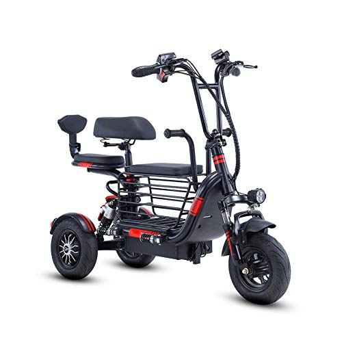 Folding Electric Three-Wheel Electric Bicycles Tricycle Mobility Scooter for Adults and Elderly 350W 48V 8Ah/10Ah/12Ah/20Ah Lithium Battery Large Capacity Storage Basket,Black,20AH Georgia