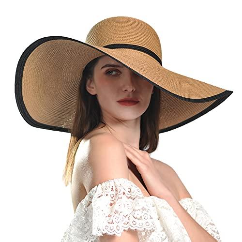 Comhats Sombrero de paja plegable para el sol, sombrero de paja con...