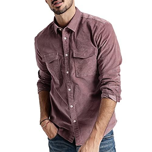 SSBZYES Camisas para Hombres Camisas De Manga Larga para Hombres Chaquetas De Color Sólido Camisas De Manga Larga para Hombres Camisas De Pana De Manga Larga De Color Sólido para Hombres