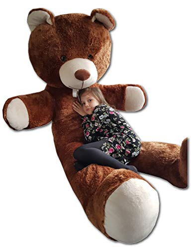 Odolplusz Teddybär 205cm | Farbe : Braun | Groß Teddy Bear Plüschbär Stofftier Kuscheltier Plüschtier XXL