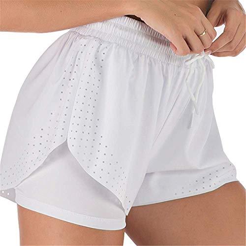 Layor Boutiques Yoga Fitness été Course à Pied Double Pantalon à Séchage Rapide Anti-éclairage Femme Blanc XXL