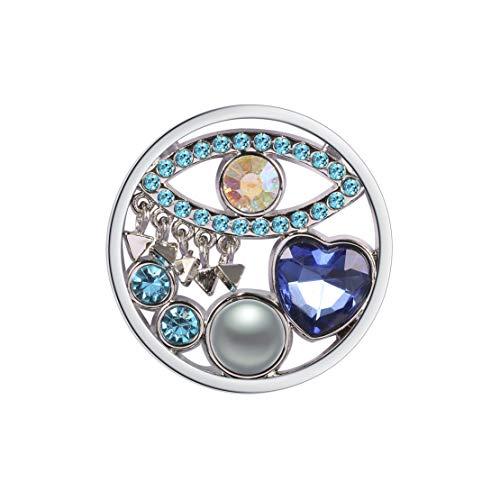 Meilanty Damen Halskette Anhänger Coin 33mm für Münzfassungen Edelstahl Blaue Augen Herz Kristall Perle GP-45