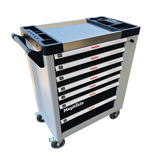 XL Werkzeugwagen Werkstattwagen mit 7 Schubladen davon 6 mit Werkzeug wie Schraubenschlüssel, Ratsche mit Nusskasten, Schraubendreher usw. in Soft Inlays in Carbonoptik befüllte Schubladen