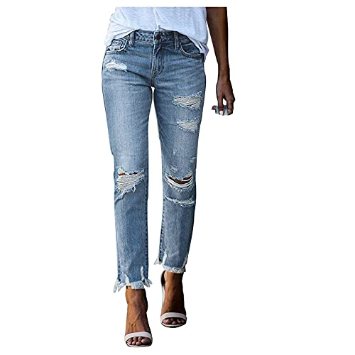 Women Ripped Jeans Loose Distressed Boyfriends Jeans Frayed Ankle Skinny Denim Pants Knees Hole Trousers