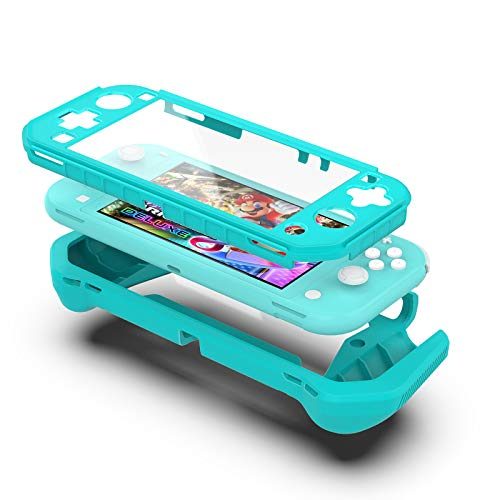 【USA in Stock】for Nintendo-Switch Lite PC+TPU Case Soft Shockproof Protector Hand Grip Cover,Ergonomic Grip Design Smooth Touch Protective Cover (Sky Blue)