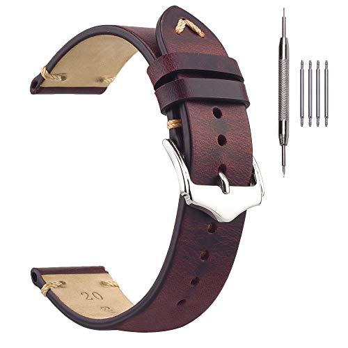 Correas de Reloj de 22 mm, Cada Correa de Reloj de Cuero de Cera de Aceite, Correa de reemplazo de Reloj para Hombres Granate