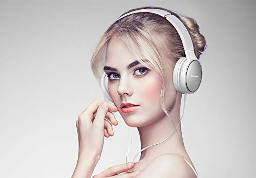 Panasonic RP-HF300ME-W On-Ear Kopfhörer (Mikrofon, Controller, zusammenfaltbar, 10-25.000 Hz, 1,2 m Flachbandkabel) weiß