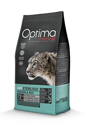 Optimanova Super Premium Sterilised Katzenfutter - Trockenfutter Hähnchen und Reis – 8 kg - Hypoallergen - 40% Frischfleisch - Erwachsene Katzen - Ab dem 12 monate