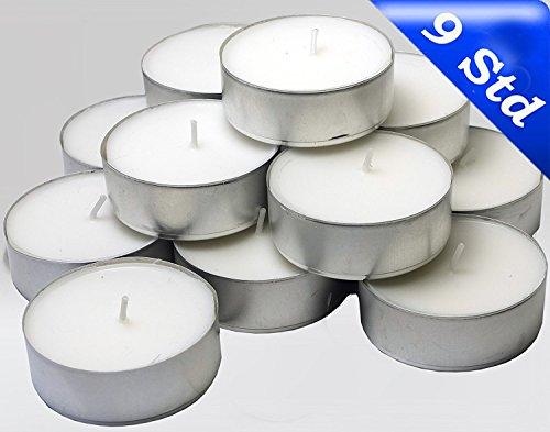 Hillfield® 144 Maxi Teelichter im Alubecher, Maxilicht, Jumbo Teelichter, ohne Duft, Kerzen, Teelicht, Aluminiumhülle, Gastronomie Qualität, Weiß, mit RAL - Gütezeichen