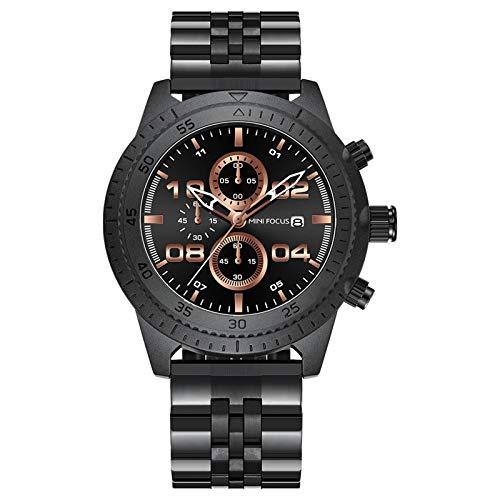 JTTM Relojes De Cuarzo para Hombre Analógico Calendario De Acero Inoxidable Multifunción Impermeable Cronógrafo Reloj Negocios De Moda para Hombre,Rose Black