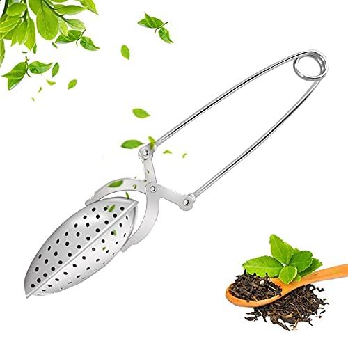 Ealicere 1 unidades Pinza Bola de te inox,filtro para té de acero inoxidable para Taza, Filtro de té, Pinzas de Especias,6.1pulgada