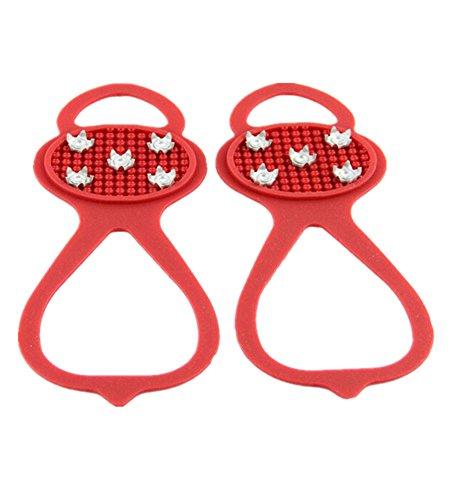 Fletion zucca tipo cinque Pronged antiscivolo Outdoor ramponi antiscivolo 5Tooth Crampons Spikes semplice con 5denti Red