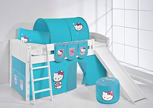 Lilokids Lit surélevé ludique IDA 4106 90x200 cm Hello Kitty Turquoise - Lit surélevé évolutif Blanc laqué - avec Toboggan et Rideaux