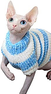 Khemn Designer Knitted Cat Pullover Striped Warm Cat Sweater with Thick Fleece-Best for Hairless Cat, 3 Colors