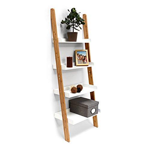 Relaxdays–Estantería Estilo Escalera de bambú, con 4estantes, de 144x 56x 34cm, para Cuarto de baño, Dormitorio, Sala de Estar, Color Blanco Natural
